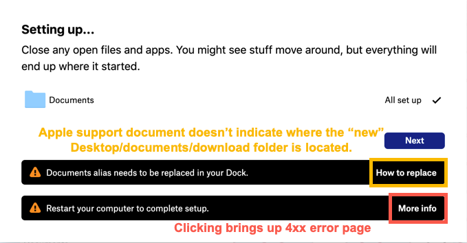 Setting up dialog box with broken or unhelpful links