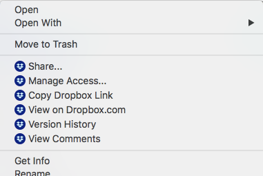 Finder's context menu with newest Dropbox icons.