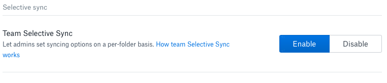 Team selective sync settings in the Admin console