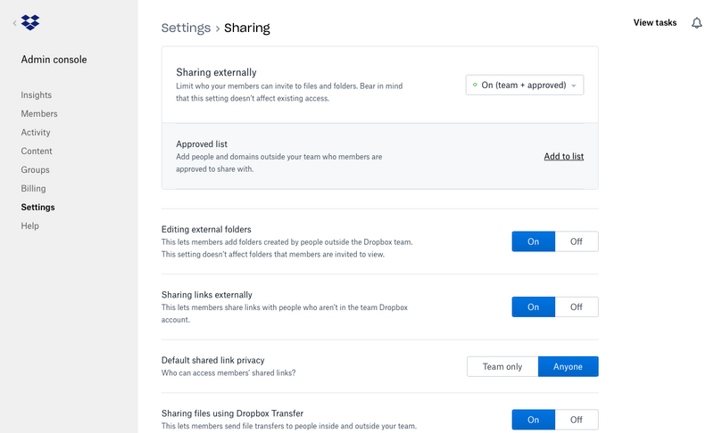 Manage your Dropbox Business team's sharing within the Admin Console