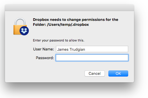 I moved my local Mac account and think dropbox needs to remap. I uninstalled and reinstalled. Keep getting this.