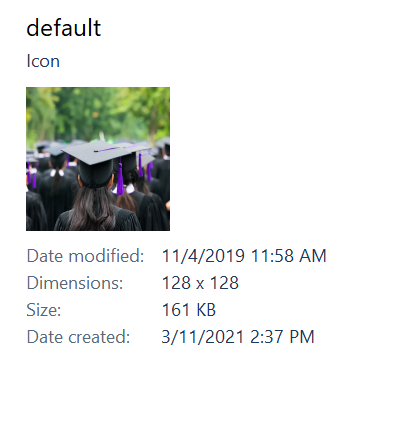 "Details of ""default"" file"