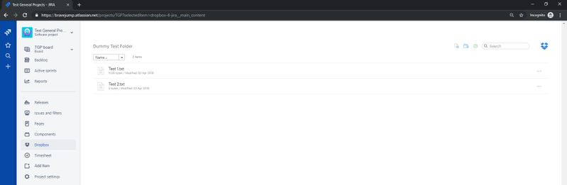 Same is working fine in Chrome – Dropbox App for JIRA - in Chrome