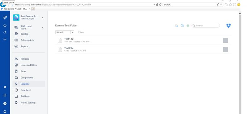 Same is working fine in Chrome – Dropbox App for JIRA - in IE