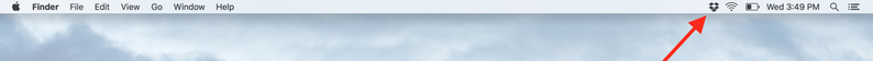 Dropbox icon in menu bar