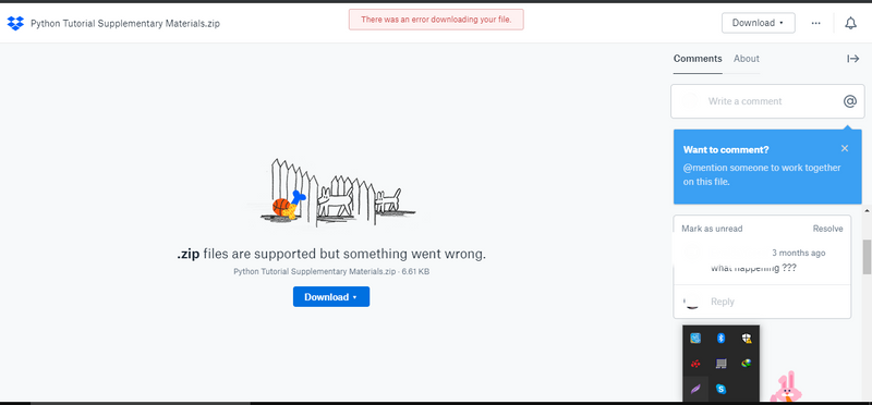 Solved: Can't download files from dropbox website [Somethi