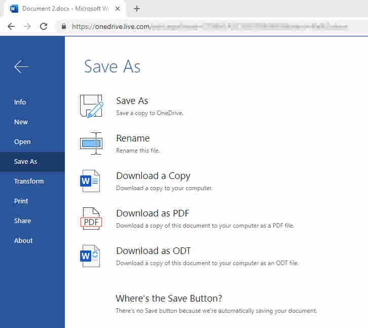 Save as in Word Online - Dropbox Community - 353237