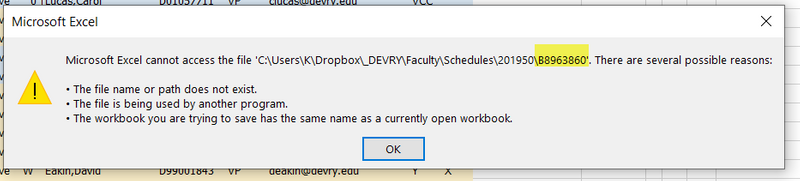Can't save files to Dropbox in Windows 10, started