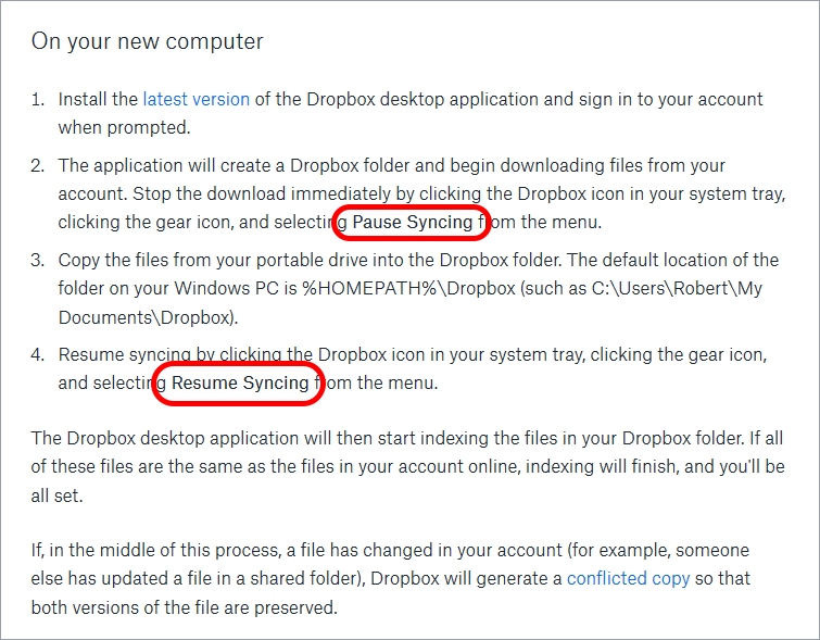 dropbox instructions for pc