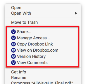 Disabling new icon in context menu on macOS - Dropbox