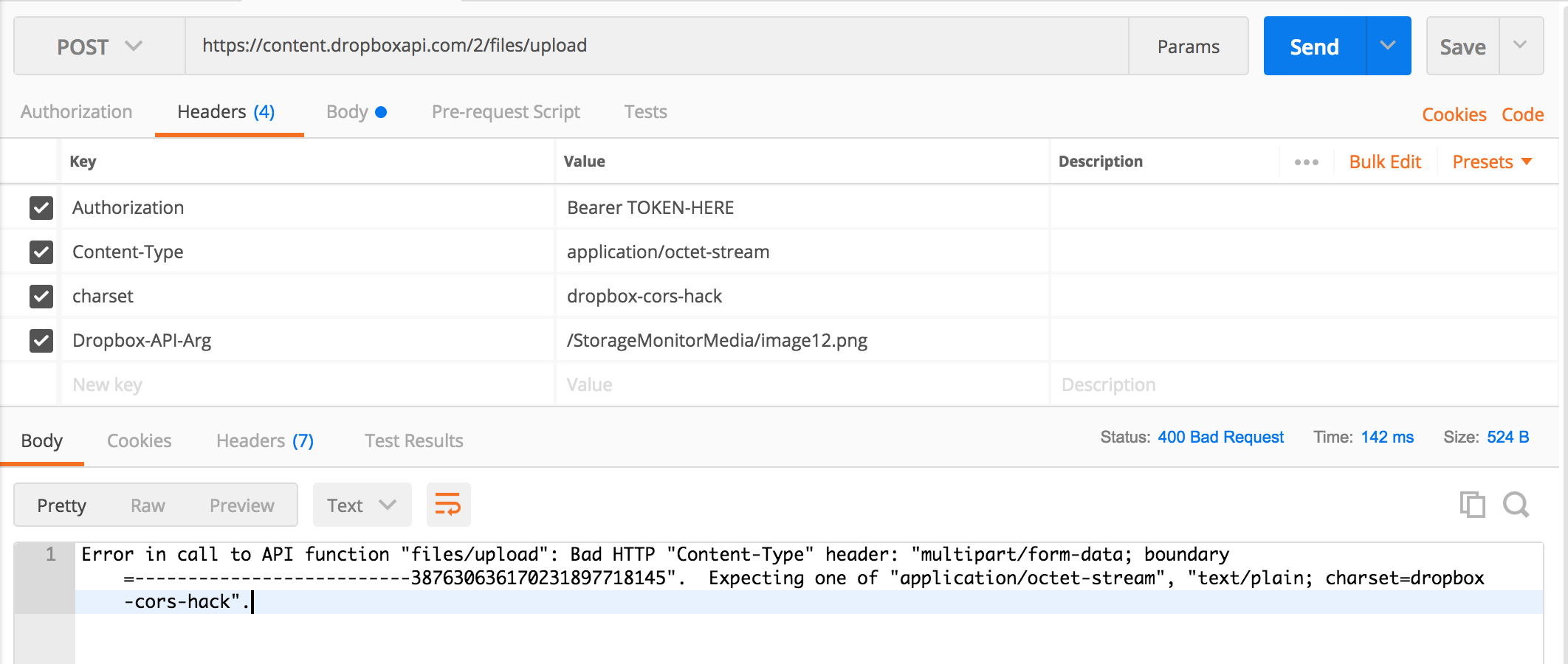 Testing the upload API via postman fails and retur    - Dropbox