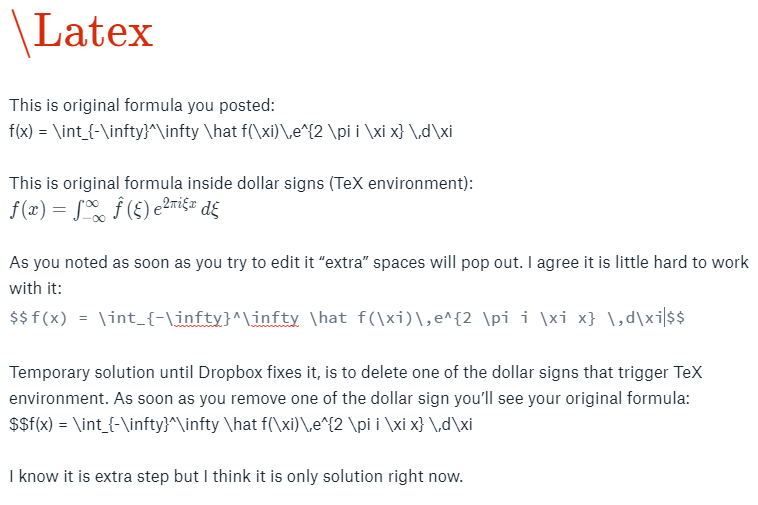 Solved: Latex equation line breaks - Dropbox Community - 271650