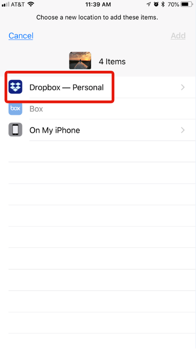 Once in Files, select your Dropbox account
