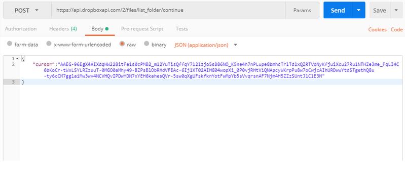 Solved: 409 reset error for list_folder/continue api from