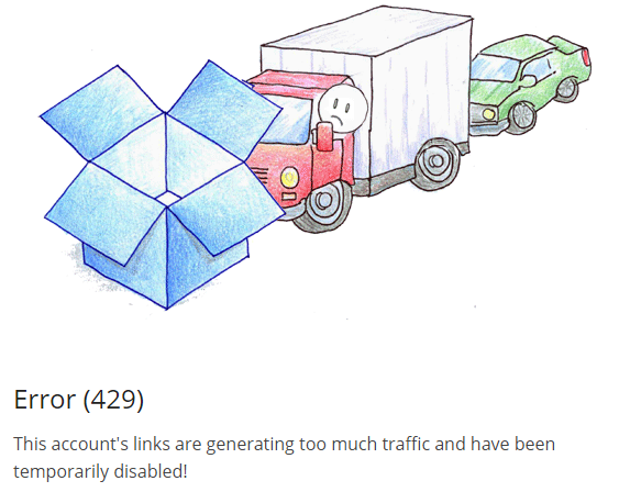 Solved: Error 429: Shared links are generating too much tr