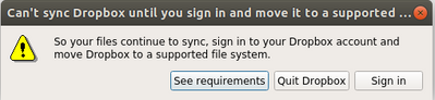 "Ubuntu 18.04 Keep getting ""Can't sync dropbox until you sign in and move it to a supported ...¨"