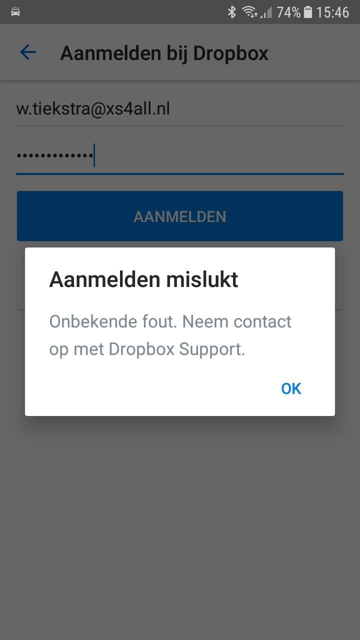 Dropbox login problem