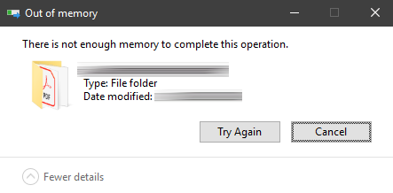 Moving pdf files: There is not enough memory to co