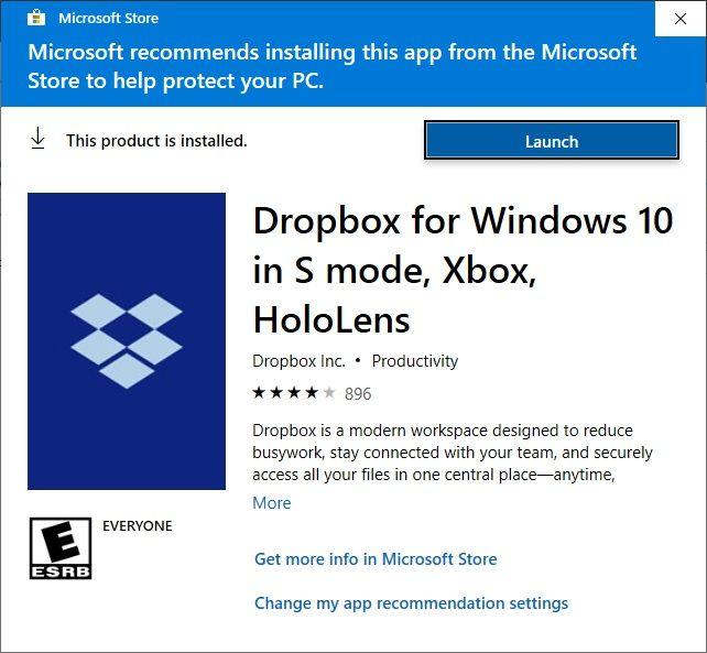 Unable to Install Desktop App on Windows 10 v1809 - Dropbox