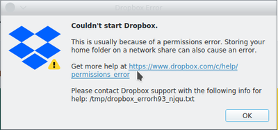 Authorization error Dropbox and can not sync