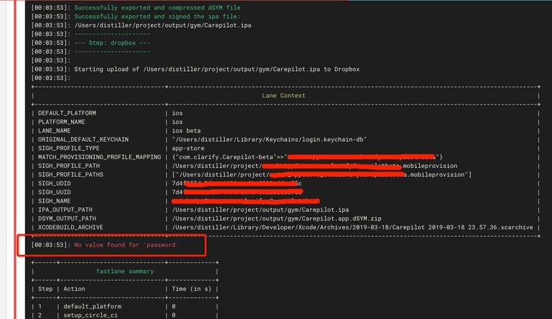 How to upload iOS ipa file to Dropbox using fastla