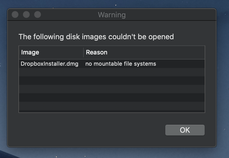 no mountable file systems dmg mac